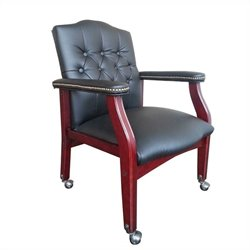 Boss Office Caressoft Guest Office Chair in Black and Mahogany
