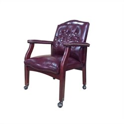 Boss Office Vinyl Guest Office Chair in Oxblood and Mahogany