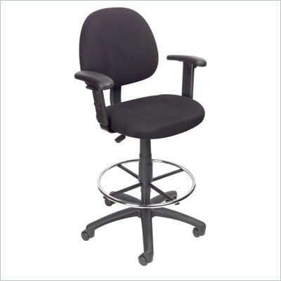 Boss Office Products Contoured Fabric Drafting Stool with Adjustable Arms