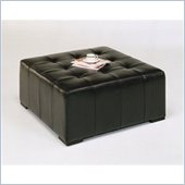 Armen Living Empire Bycast Square Leather Cocktail Ottoman