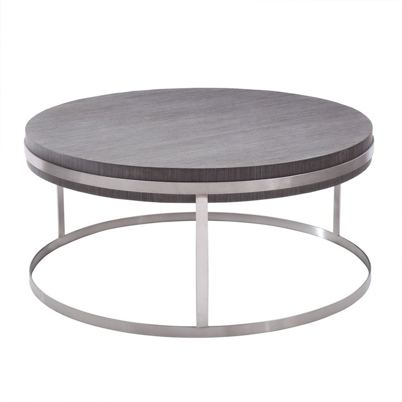 Armen Living Sunset Round Coffee Table in Gray