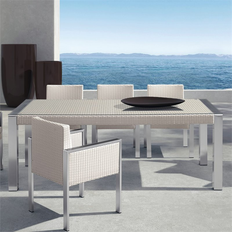 Armen Living Watercube Patio Clear Glass Dining Table in White