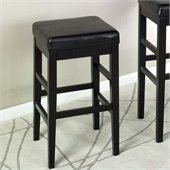 Armen Living Sonata 26 High Black Leather Backless Counter Stool