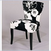 Armen Living Black and White Floral Fabric Casual Dining Side Chair (Set of 2)