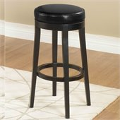 Armen Living Black 30 High Round Backless Swivel Bar Stool 