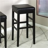 Armen Living Sonata 30 High Black Leather Backless Bar Stool