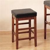 Armen Living Sonata 26 High Brown Leather Backless Counter Stool