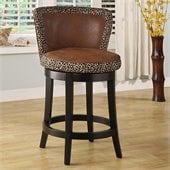 Armen Living Lisbon 30 High Swivel Seat Leopard Print Bar Stool