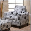 ADD TO YOUR SET: Armen Living Marietta Black & White Floral Pillow Back Club Chair