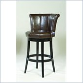 Armen Living Barcelona 30 Swivel Barstool in Brown Leather
