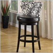 Armen Living Savvy 26 Black & White Fabric Swivel Barstool