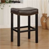 Armen Living Tudor Backless 26 Stationary Barstool in Brown Leather