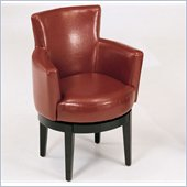Armen Living Swivel Leather Club Chair in Red