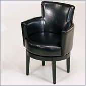 Armen Living Swivel Leather Club Chair in Black