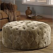 Armen Living Victoria Round Ottoman in Moss Green
