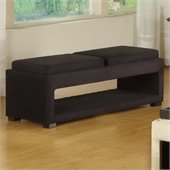 Armen Living Cancun Microfiber Double Tray Storage Bench in Black