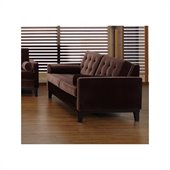 Armen Living Centennial Velvet Loveseat in Brown