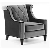 Armen Living Barrister Velvet Chair in Gray