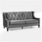 Armen Living Barrister Velvet Sofa in Gray