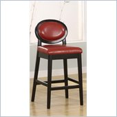 Armen Living Martini 30 Stationary Barstool in Red Leather