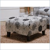 Armen Living Marietta Floral Pattern Ottoman in Black and White