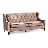 Armen Living Barrister Velvet Sofa in Caramel