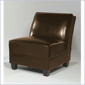 Armen Living Canyon Armless Leather Club Chair in Brown