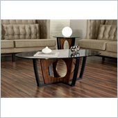 Armen Living Decca Oval Glass Top Coffee Table in Espresso