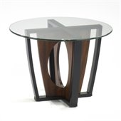 Armen Living Decca Glass Top Lamp Table in Espresso