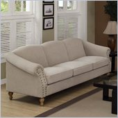 Armen Living Maxwell Sand Linen Fabric Sofa in Gray