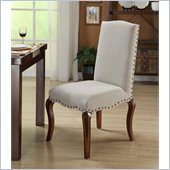 Armen Living Madeleine Vintage French Fabric Chair Set in Gray