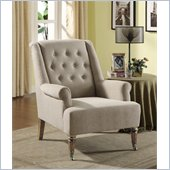 Armen Living Albert Sand Linen Fabric Chair in Gray