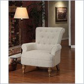 Armen Living Hudson Sand Linen Fabric Chair in Gray