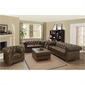 Armen Living Winston Vintage Loveseat in Mocha