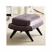 Armen Living 5th Avenue Fabric Ottoman w/ Ebony Wood Legs in Gray