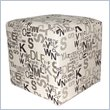 ADD TO YOUR SET: Armen Living Square Fabric Ottoman in Modern Alpha Letters
