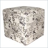 Armen Living Square Fabric Ottoman in Modern Alpha Letters