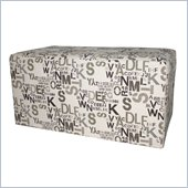Armen Living Fabric Ottoman Bench in Modern Alpha Letters