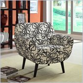 Armen Living Jetson Black/White Flower Club Chair