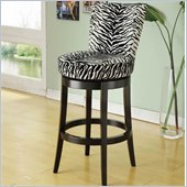 Armen Living Boston 26 Inch Black Zebra Fabric Swivel Barstool