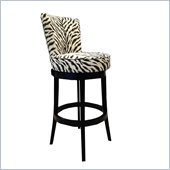 Armen Living Boston 30 Inch Black Zebra Fabric Swivel Barstool