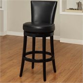 Armen Living Boston 26 Inch Black Bicast Leather Swivel Barstool