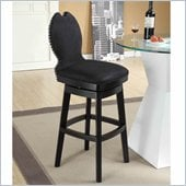 Armen Living Ava 26 Inch Black Fabric Swivel Barstool