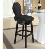 Armen Living Ava 30 Inch Black Fabric Swivel Barstool