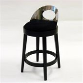 Armen Living Vista 26 Inch Black Microfiber Stationary Barstool