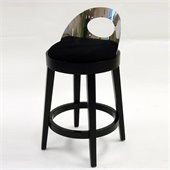 Armen Living Vista 30 Inch Black Microfiber Stationary Barstool