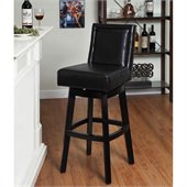 Armen Living Wayne 30 Inch Black Bicast Leather Swivel Barstool