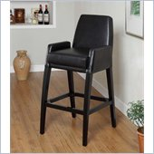 Armen Living Baldwin 30 Inch Black Bicast Leather Stationary Barstool