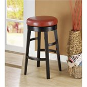 Armen Living Halo 30 Inch Red Bicast Leather Swivel Barstool