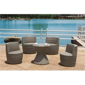 Armen Living Stackable 5 Piece Outdoor Bistro Set in Gray Woven Rattan